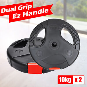 Standard Weight Plates 10kg x 2 - Dual Grip Ez Handle PVC Coated Home Gym