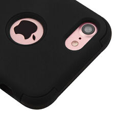 iPhone 7 / 8 - HARD&SOFT Rubber Hybrid Armor Shockproof Case Cover Solid Black