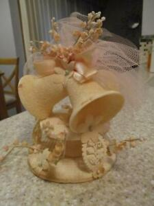 Antique 1940's Vtg WEDDING CAKE TOPPER BELLS/TULLE/EMBELLISHED w/a HINT of PINK