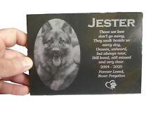 "Personalised Pet Memorial 7""x5"" Slate Grave Marker Cat Dog Custom Image Plaque"