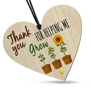 Thank You For Helping Me Grow Wooden Heart Plaque Keepsake Best Teacher