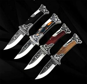 Drop Point Knife Folding Pocket Hunting Survival Tactical High Carbon Steel Wood