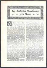 LES CONFRERIES MUSULMANES & LE MAROC - - Coupure de Presse (1907)