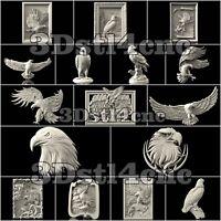 16 3D STL Models Hawk Eagle Set for CNC Router Carving Machine Artcam aspire