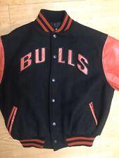 VTG NBA Chicago Bulls 80's Youth Size 12 Leather Bomber Varsity Wool Jacket