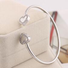 Michael Kors SILVER Double Heart Crystal Logo Cuff Bracelet w/ gift box