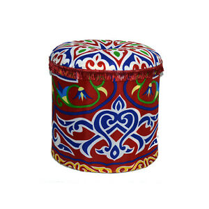 Round Printed Pouf - Red