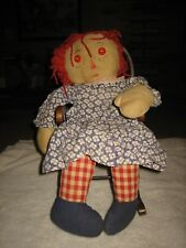 "RARE VINTAGE CLOTH RAGGEDY ANN DOLL 20"" TALL ORIGINAL CLOTHING 1940'S ? red eyes"