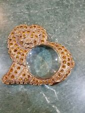 Brass Magnifying Glass set in gold jeweled Lion practical and decorative