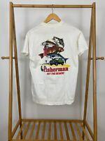 VTG The Fisherman HIT THE BEACH Pocket Front Single Stitch T-Shirt Size M USA