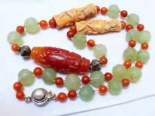 CHINESE VINTAGE CARVED JADE and CARNELIAN BEADS NECKLACE, Sterling silver clasp