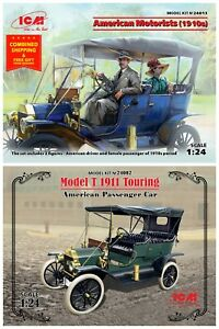 Bundle lot of ICM 24002 + 24013 MODEL T 1911 TOURING AND AMERICAN MOTORISTS