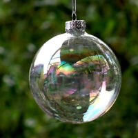 4PCS Clear Iridescent Glass Ball Christmas Ornament Wedding Baubles 6cm Gifts