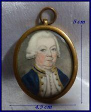 Portrait Miniature Officier de La Royale Navy vers 1760-1780 Grande Bretagne 18e