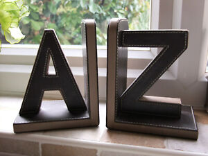 CLASSIC STYLE  VINTAGE A TO Z  LEATHER COVERED BOOKENDS.