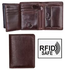Cruz Luxury Vertical Men's Brown Leather Trifold Wallet RFID Blocking New