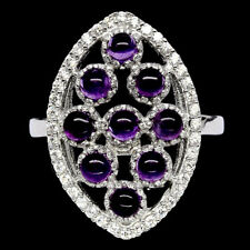 9 Amethyste 925er Sterling Silber Ring 22x15mm! 20,5Ct. White Gold Plated!