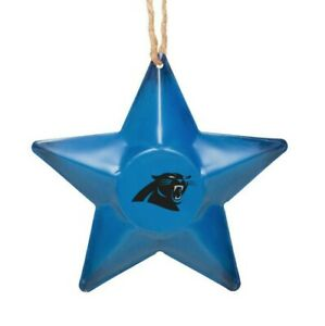 Carolina Panthers Christmas Tree Holiday Ornament New - Team Logo Metal 3D Star
