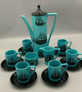 Portmeirion Vintage Sailing Ships Blue 15 piece Coffee Set.
