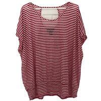Lane Bryant Women's Pink & White Striped Sheer Short Sleeve Top Size 22/24