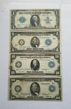 SET OF 4 LARGE NOTES.  SERIES OF 1914 $50, $10, $5 & 1923 $1!!!!