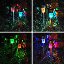 Color Changing Solar Powered Garden Light Stainless Steel Outdoor LED Lamp