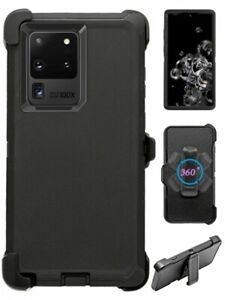 For Samsung Galaxy Note 20 Ultra Black Defender Case (Belt Clip Fits OtterBox)