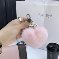 7cm Real Mink Fur Ball Pompom Heart Shaped Keyring Phone Car Bag Charm Pandent