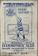 More details for bradford park avenue v bolton wanderers 1945/46