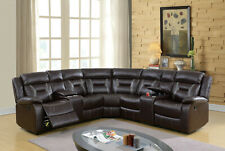 3pcs Motion Sectional Sofa Dark Brown Gel Leatherette Couch Living Room