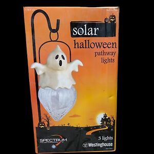 Halloween Solar Pathway Lights Color Changing LED Ghosts Yard Decor Set of 3