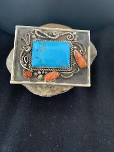 Navajo Native Blue TURQUOISE Spiny Oyster STERLING SILVER BELT Buckle Concho 717