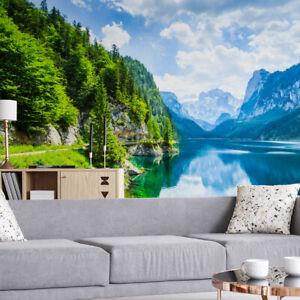 VLIES FOTOTAPETE Tapete Wandbilder XXL Natur BERGE See Wald Bäume Himmel 2055