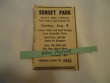 Lester Flatt & Earl Scruggs Sunset park West Grove PA concert 1965 newsprint ad