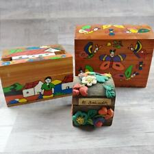 THREE Vintage Storage Boxes El Salvador FOLK ART WOOD HAND CRAFTED hand painted