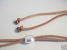"Genuine Tan Leather Draw String Cowboy Hat Stampede Strings 20"" Strap"