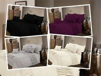 Luxury Elastic Cuff Poly Cotton Duvet Quilt Cover Set Double Super King Size New