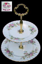 Royal Albert MOSS ROSE Two Tier  CAKE STAND 1st Eng c1956