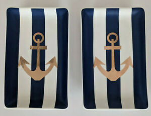 Concepts in Time TRINKET VANITY TRAYS Set of 2 Gold Anchors Blue Wht Stripe NEW