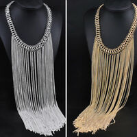 Fashion Tassel Jewelry Choker Chunky Statement Bib Collar Necklace Pendant Chain