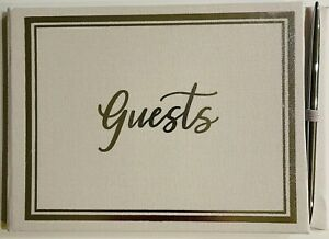 Guest Book (Off-White) and Pen (Silver) Set, 16 pages, Simple Design, Cloth