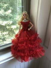 2018 Holiday Barbie Blonde Red Dress