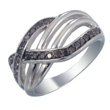 Sterling Silver Black Diamond Ring 0.35 CT In Size 7