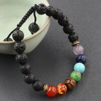 7 Chakra Reiki Braided Handmade Mixed Natural Gemstone Round 8mm Beads Bracelets