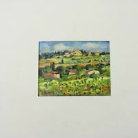 Tiny Original Water Color - Giangiorgio Mosso Landscape Painting Tuscan Signed