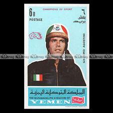 ★ GIACOMO AGOSTINI Pilote Vitesse 1969 ★ YEMEN Timbre Moto Motorcycle Stamp #184