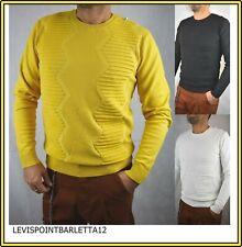 Maglione maglioncino pullover da uomo maglia slim fit girocollo bianco nero M L