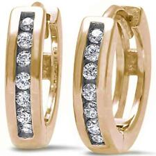 Yellow Gold Plated Round Cz Hoop .925 Sterling Silver Earrings