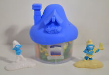"2017 Blue Mushroom House 4"" McDonald's EUROPE Figures Smurfs Lost Village Movie"