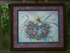 Home interiors Framed & Matted Floral Angel Print Picture By F. Buckley